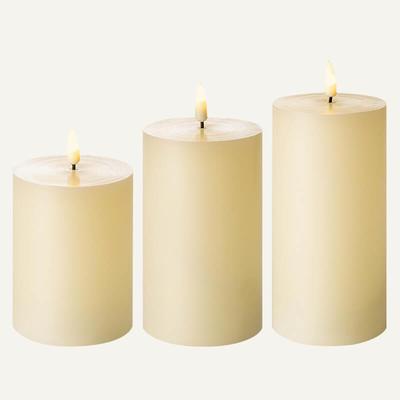 D7.5 flickering flameless wax pillar candle