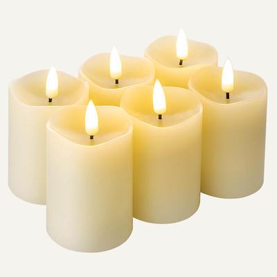 Flameless wax pillar candles Set Of 6