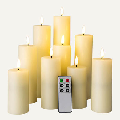 D5cm led wax candles with remote Set Of 9