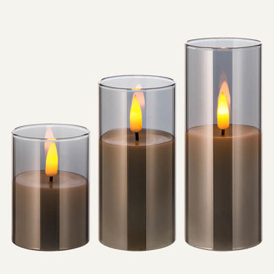Customized D5cm Real Flame Led Candle Set Of 3
