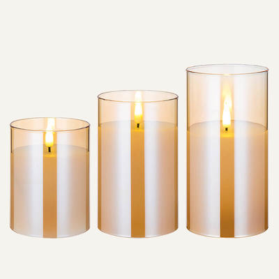 Glass real wax led candle Set Of 3