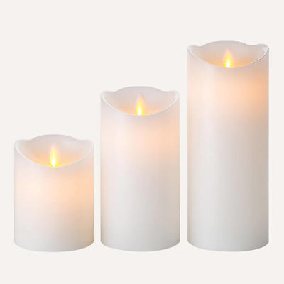 D8cm Moving Wick Led Candle Set Of 3