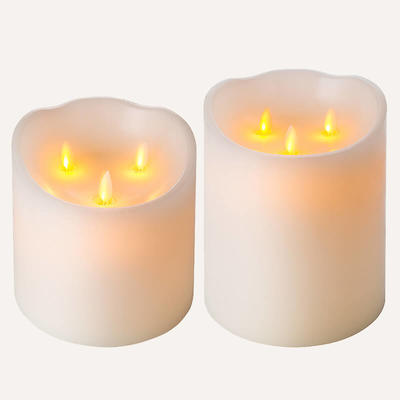 D15cm moving flame candles Set Of 2