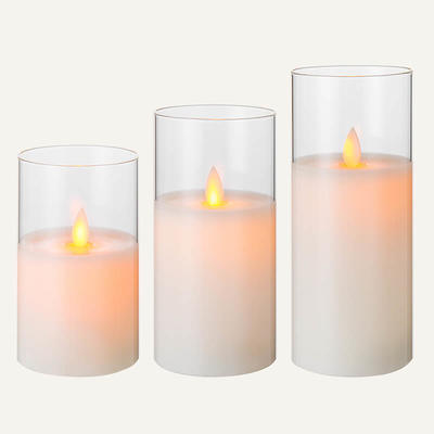 D7.5cm Glass Moving Led Candle Set Of 3