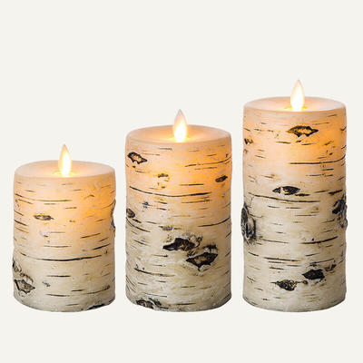 Rustic Real Wax Led Candle Set Of 3